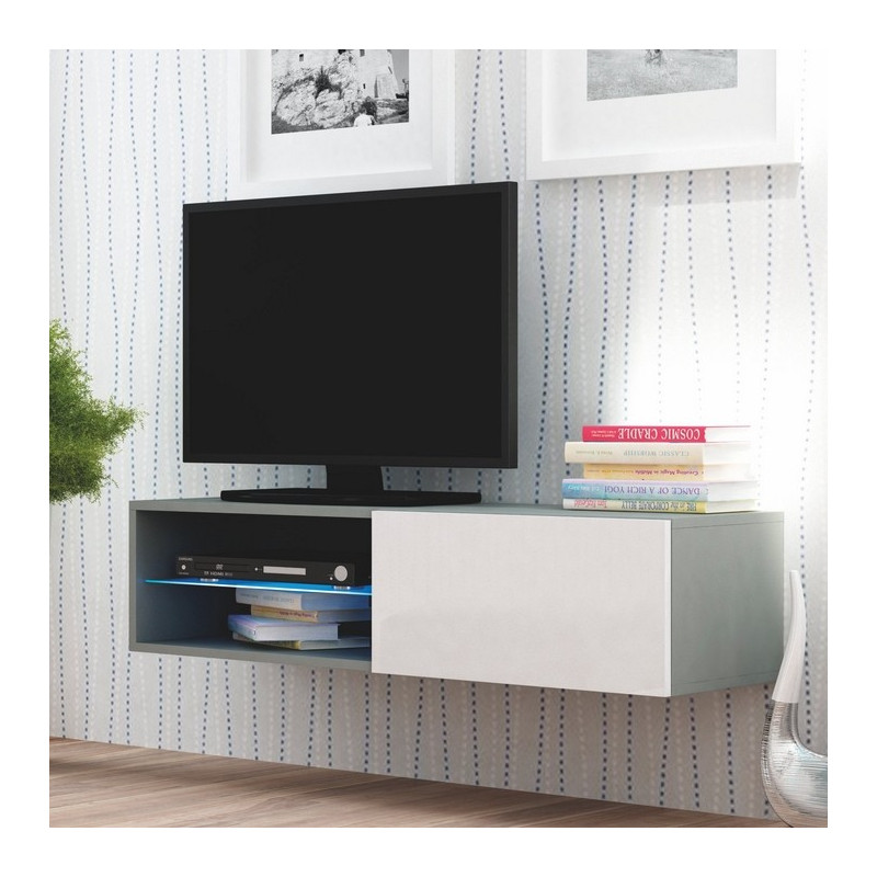 Meuble tv gris blanc suspendu a led trevise for Meuble tv angle suspendu