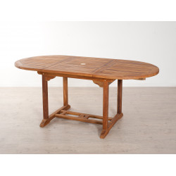 Table de jardin ovale extensible en teck huilé 120/180x90x75cm Thanina