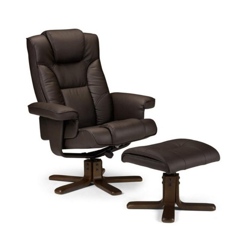 fauteuil relax marron avec repose pied miami. Black Bedroom Furniture Sets. Home Design Ideas