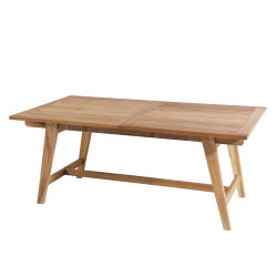 Table de jardin scandinave rectangulaire extensible 180/240x100x75cm en teck Summer