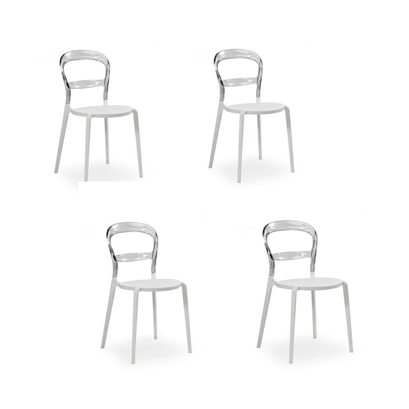 Chaise polycarbonate blanche empilable Chris