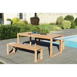 Salon de jardin Table 180x90cm & 2 Bancs en Teck couleur naturelle Palma